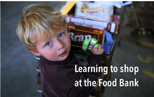 learning to shop food bank child